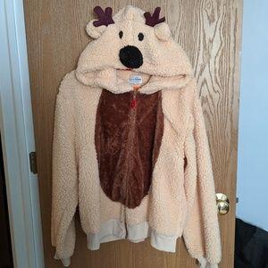 Reindeer Hood Teddy Jacket